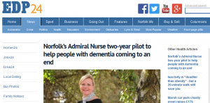 EDP: Norfolk's Admiral Nurse two-year pilot to help people with dementia coming to an end