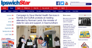 Ipswich Star: Campaign to Save Mental Health Services in Norfolk and Suffolk protests at meeting attended by Norman Lamb, the minister of state for care and support, in Saxmundham