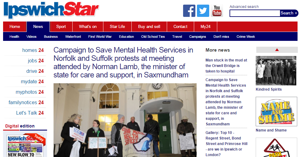 Ipswich Star Campaign to Save Mental Health Services in Norfolk and Suffolk protests at meeting attended by Norman Lamb, the minister of state for care and support, in Saxmundham