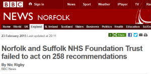 BBC News: Norfolk and Suffolk NHS Foundation Trust failed to act on 258 recommendations
