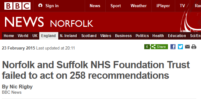 BBC News Norfolk and Suffolk NHS Foundation Trust failed to act on 258 recommendations