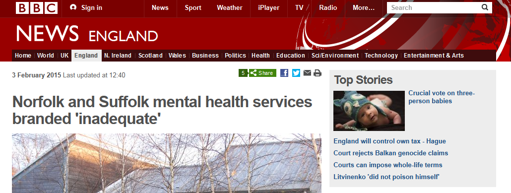 BBC Norfolk and Suffolk mental health services branded 'inadequate'
