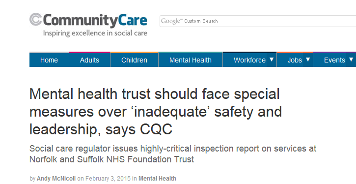 Community Care Mental health trust should face special measures over 'inadequate' safety and leadership says CQC