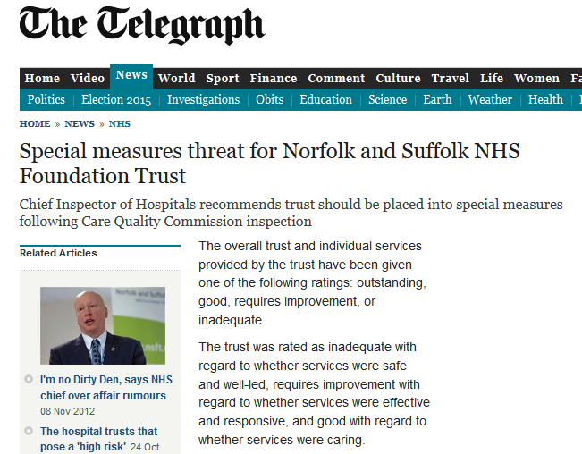 Daily Telegraph Special measures threat for Norfolk and Suffolk NHS Foundation Trust