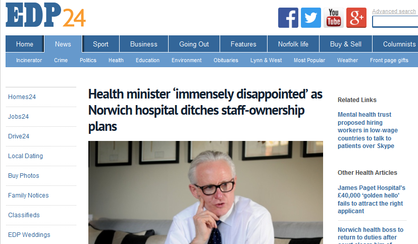EDP Health minister 'immensely disappointed' as Norwich hospital ditches staff-ownership plans