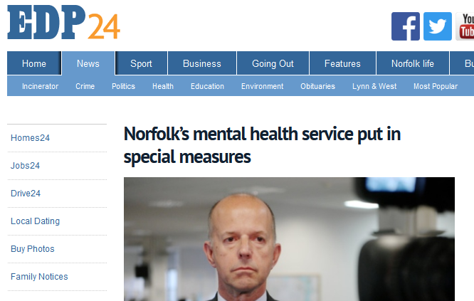 EDP Norfolk's mental health service put in special measures