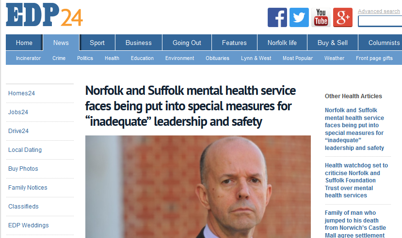 "EDP Norfolk and Suffolk mental health service faces being put into special measures for ""inadequate"" leadership and safety"