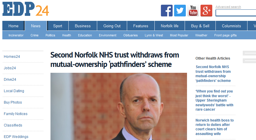 EDP Second Norfolk NHS trust withdraws from mutual-ownership 'pathfinders' scheme