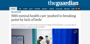 Guardian: NHS mental health care 'pushed to breaking point by lack of beds'