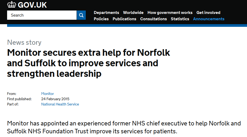 Monitor secures extra help for Norfolk and Suffolk to improve services and strengthen leadership