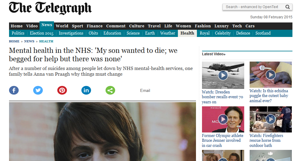 Sunday Telegraph Mental health in the NHS 'My son wanted to die; we begged for help but there was none'