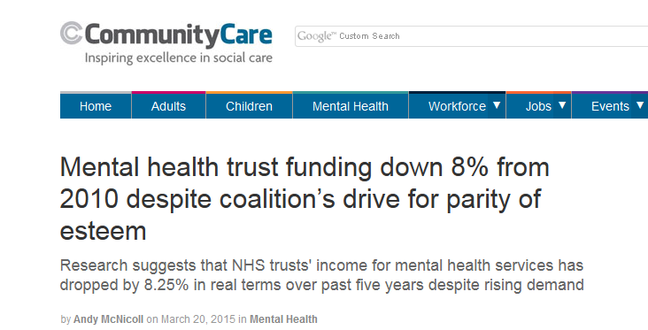 Community Care Mental health trust funding down 8pc from 2010 despite coalition drive for parity of esteem