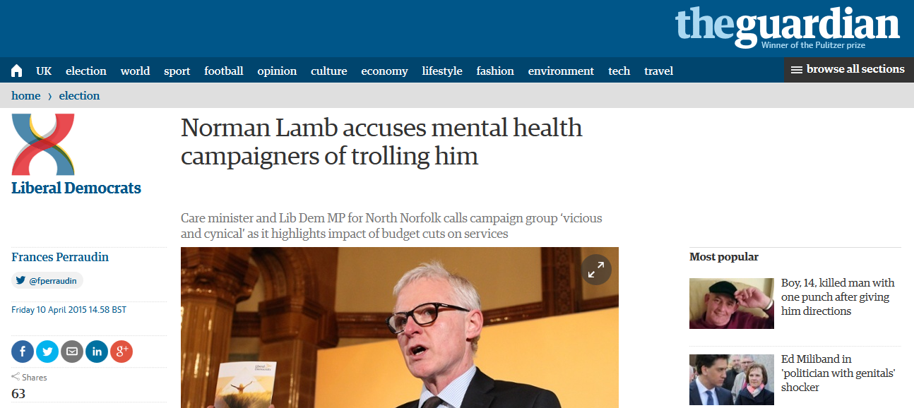 Guardian Norman Lamb accuses mental health campaigners of trolling him