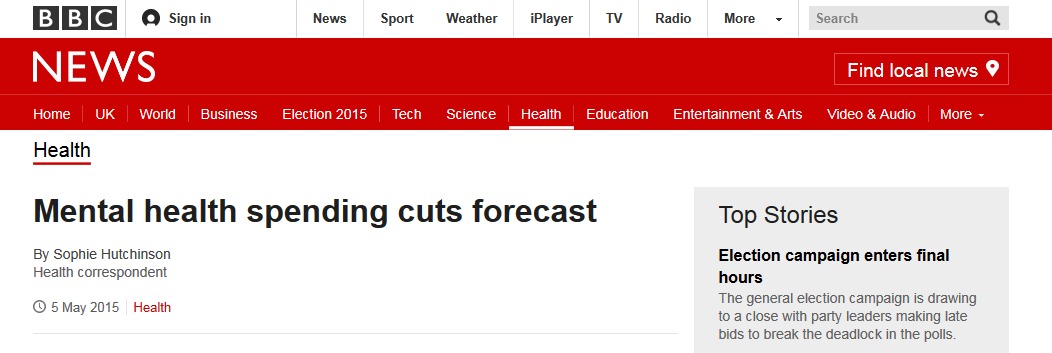 BBC News Mental health spending cuts forecast