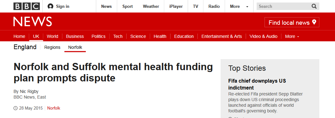 BBC News Norfolk and Suffolk mental health funding plan prompts dispute