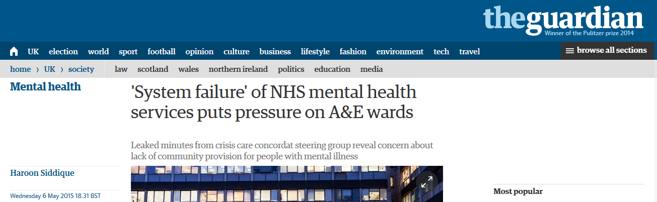 Guardian 'System failure' of NHS mental health services puts pressure on A&E wards