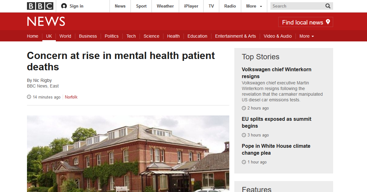 BBC News Concern at rise in mental health patient deaths