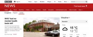 BBC News: NHS 'had no mental health beds left'