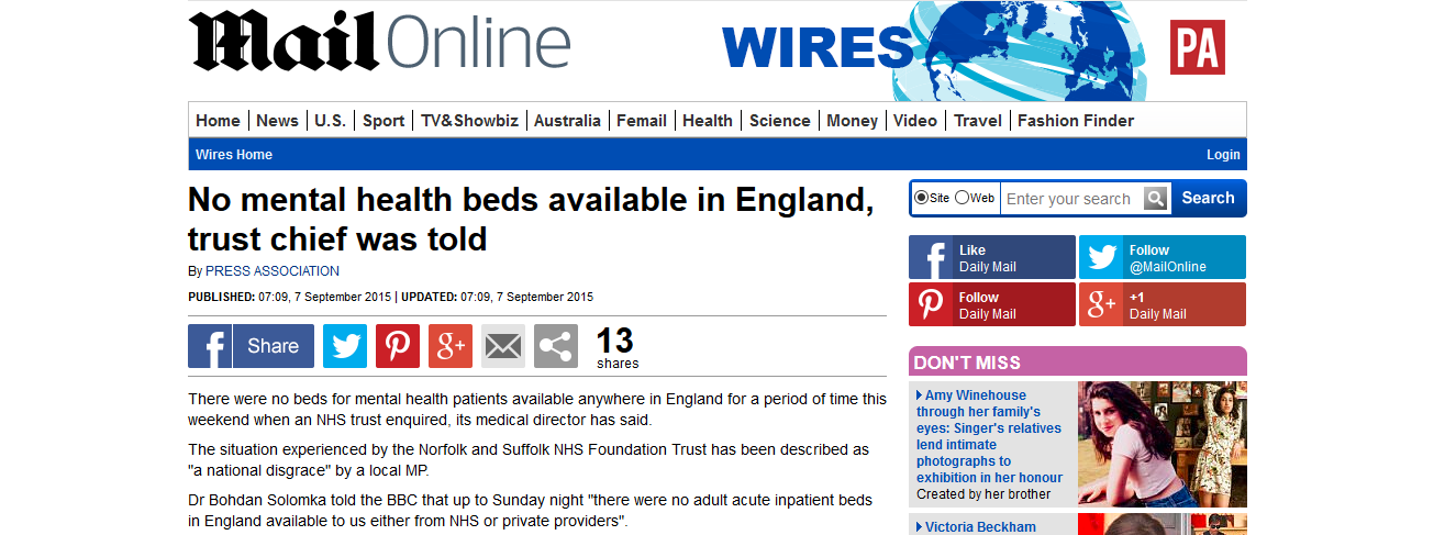 Daily Mail No mental health beds available in England, trust chief was told