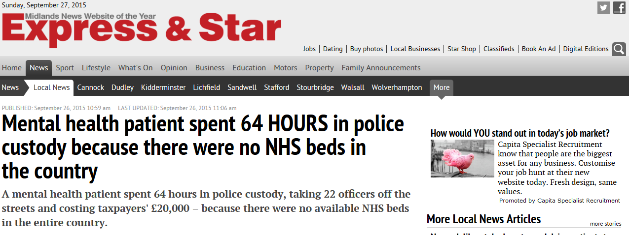 Express and Star Mental health patient spent 64 HOURS in police custody because there were no NHS beds in the country