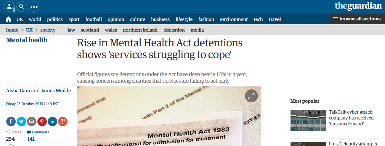 Guardian Rise in Mental Health Act detentions shows 'services struggling to cope'