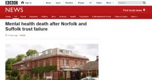BBC News: Mental health death after Norfolk and Suffolk trust failure
