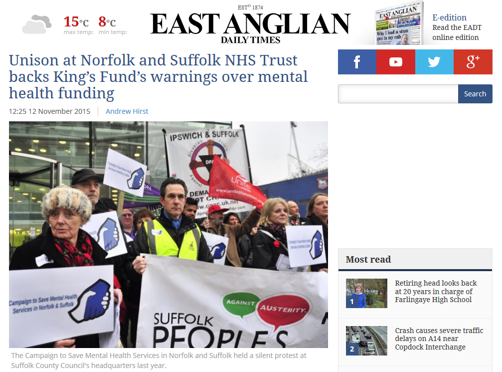 EADT Unison at Norfolk and Suffolk NHS Trust backs Kings Fund warnings over mental health funding