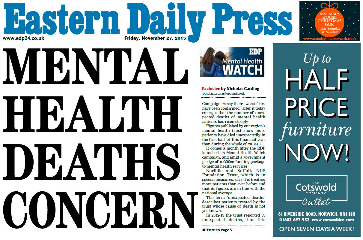 EDP Front Page Mental Health Deaths Concern