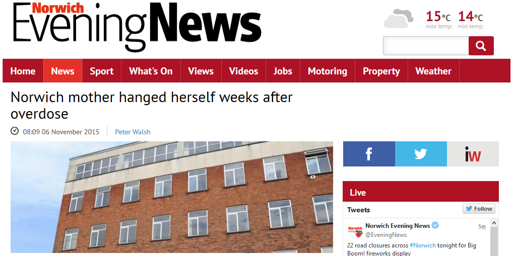 Norwich Evening News Norwich mother hanged herself weeks after overdose