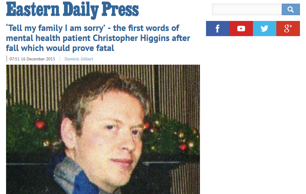 EDP Tell my family I am sorry the first words of mental health patient Christopher Higgins after fall