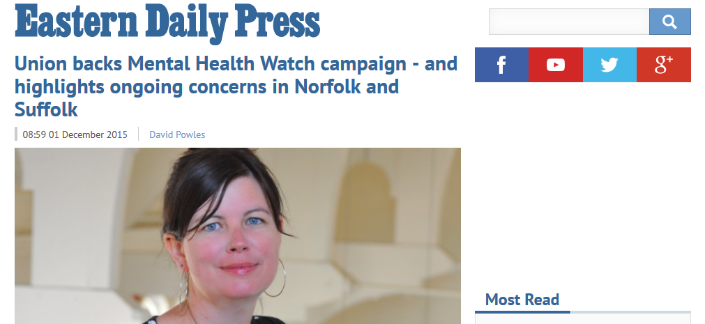 EDP Union backs Mental Health Watch campaign - and highlights ongoing concerns in Norfolk and Suffolk