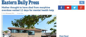 EDP: Mother thought to have died from morphine overdose waited 12 days for mental health help