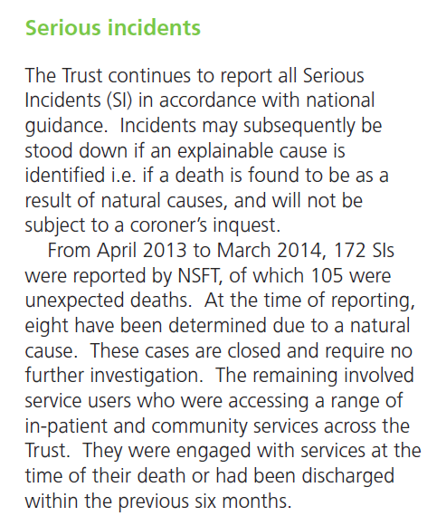 NSFT 2013-14 saw 105 unexpected deaths