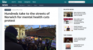 itv News Anglia: Hundreds take to the streets of Norwich for mental health cuts protest