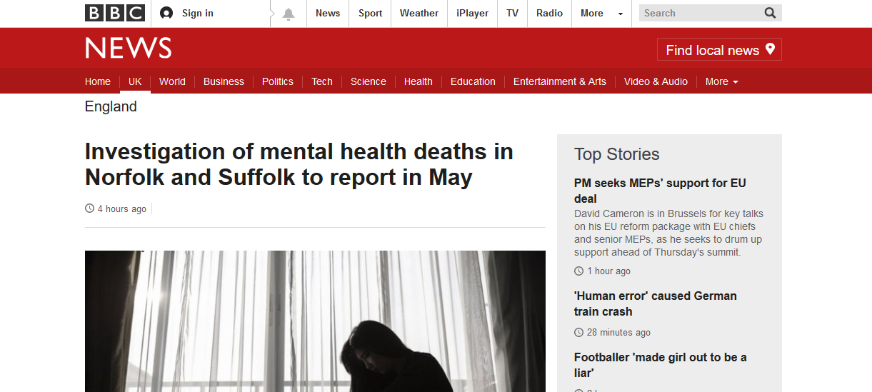 BBC News Investigation of mental health deaths in Norfolk and Suffolk to report in May