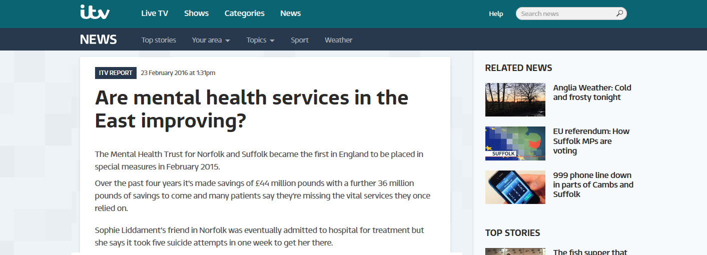 itv NEWS Anglia Are mental health services in the East improving