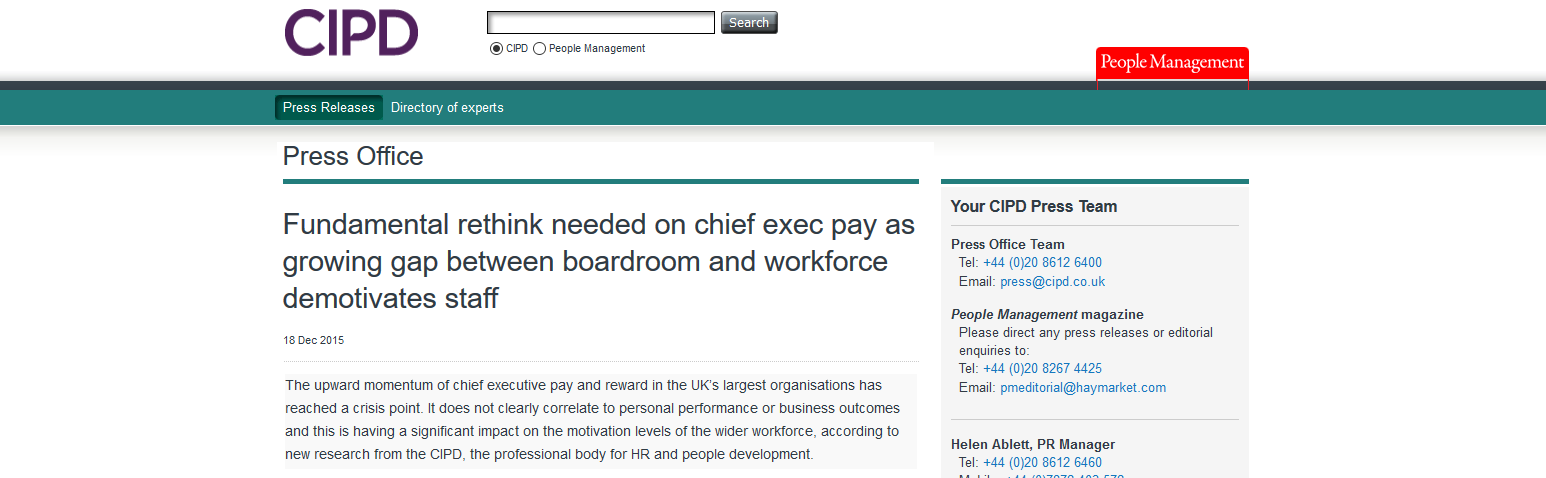 CIPD Fundamental rethink needed on chief exec pay as growing gap between boardroom and workforce demotivates staff
