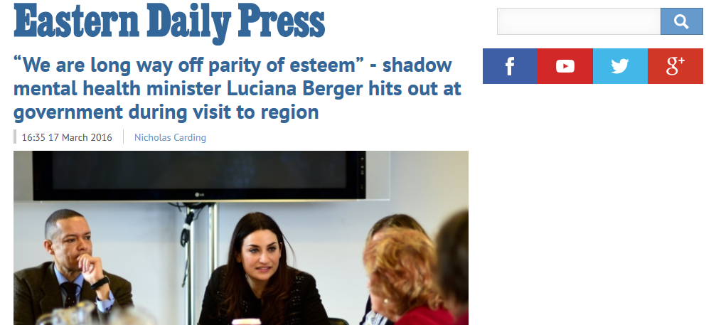 We are long way off parity of esteem - shadow mental health minister Luciana Berger hits out at government during visit to region