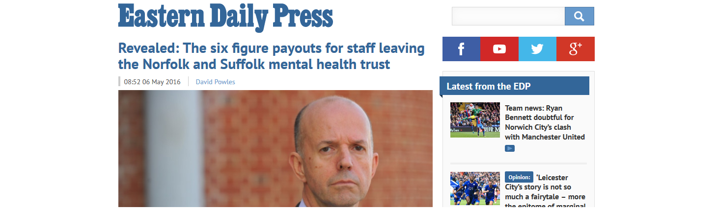 EDP Revealed The six figure payouts for staff leaving the Norfolk and Suffolk mental health trust