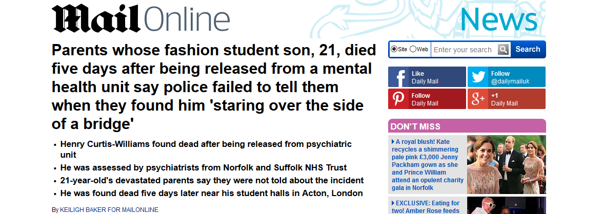 Daily Mail Parents whose fashion student son 21 died five days after being released from a mental health unit