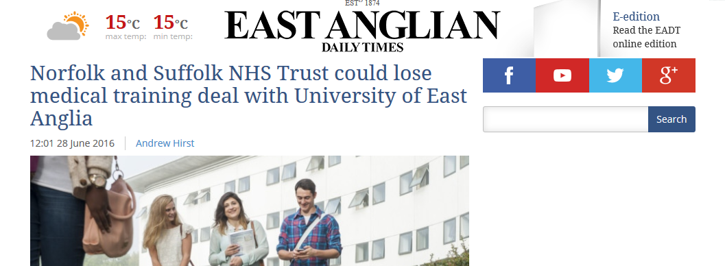 EADT Norfolk and Suffolk NHS Trust could lose medical training deal with University of East Anglia