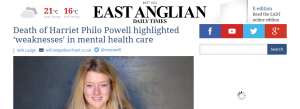EADT: Death of Harriet Philo Powell highlighted 'weaknesses' in mental health care