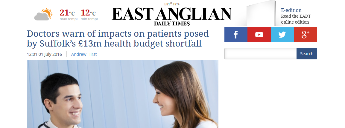 EADT Doctors warn of impacts on patients posed by Suffolks £13m health budget shortfall