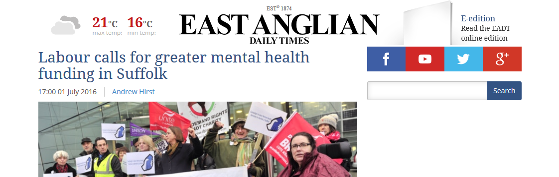 EADT Labour calls for greater mental health funding in Suffolk