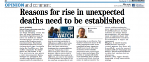 EDP: Letter: Reasons for rise in unexpected deaths need to be established