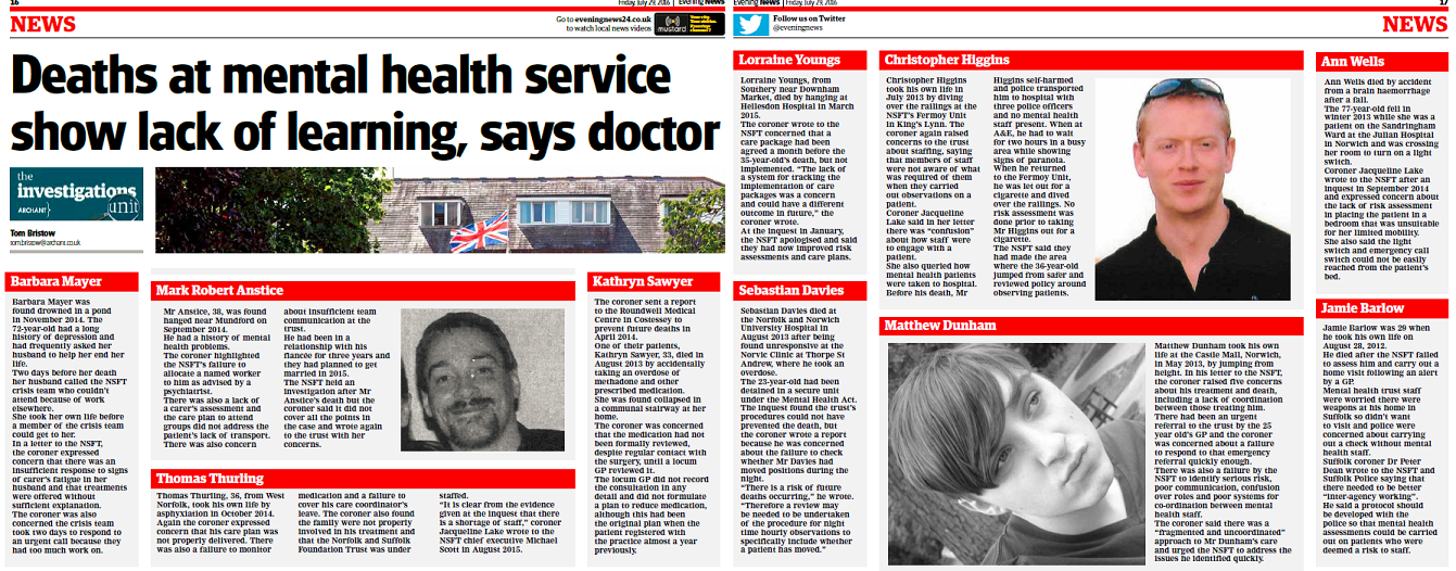 EDP Deaths at mental health service show lack of learning says doctor