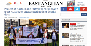 EADT: Protest at Norfolk and Suffolk mental health trust AGM over unexpected patient deaths data