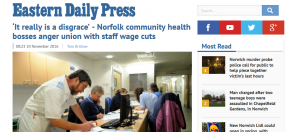 Revolving Doors: EDP: 'It really is a disgrace' - Norfolk community health bosses anger union with staff wage cuts