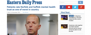 EDP: Patients rate Norfolk and Suffolk mental health trust as one of worst in country