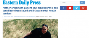 EDP: Mother of Norwich patient says son with schizophrenia could have been saved and blasts mental health services